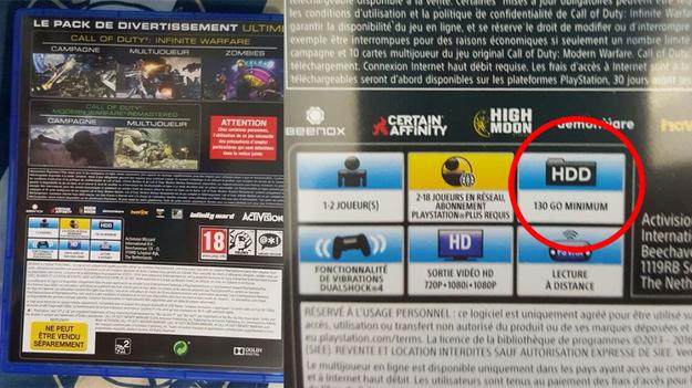 Call of Duty: Infinite Warfare: сколько места занимает игра