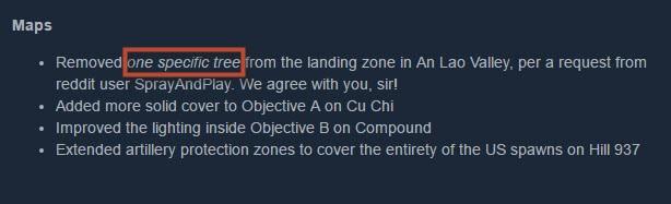 Забота о пользователях: разработчик Rising Storm 2: Vietnam убрал одно дерево по просьбе игрока